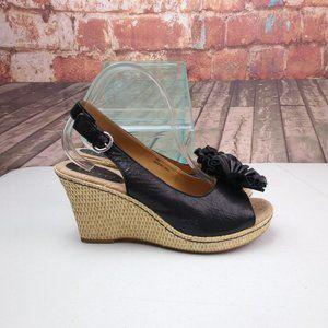 BOC Shoes - BOC Leather Wedge Sandals W/ Florets SIze 10